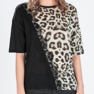 Zara animal print shirt with lace trim
